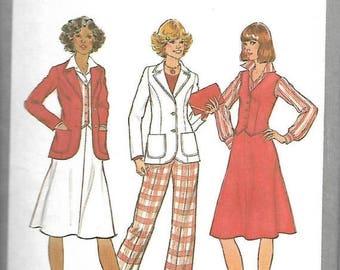 25% OFF Simplicity 9747    Miss Unlined Jacket, Skirt, Vest and Pants   C1980    Size 12   Uncut
