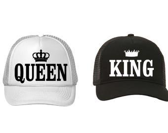 Queen and King Trucker hats. Bride and Groom trucker hats. Bachelorette and Bachelor Trucker hats.
