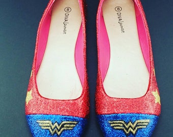 Size 8 Wonder Woman Inspired Ballet Flats Shoes