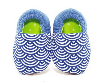 Scallop Denim Soft Soled Baby Shoes | Fabric Baby Shoes | Handmade Baby Booties | Prewalker Shoes | Non Slip Baby Shoes