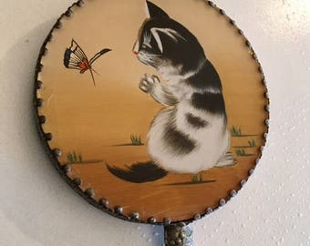 Adorable hand mirror, kitten chasing butterfly,small hand mirror,lucite