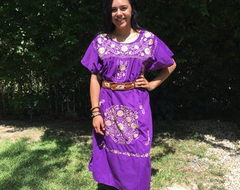 Embroidered dress,Oaxaca dress,L,Mexican dress, large,Purple dress,cotton dress,Purple,tan,embroidery, BoHo dress, Muumuu dress