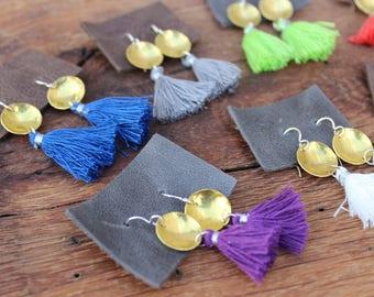 Sterling Silver & Brass Tassel Earrings