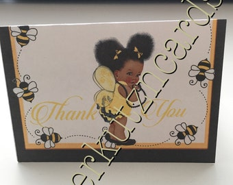 Tent style yellow and black Thank you cards bumble bee theme Baby girl baby shower princess baby shower