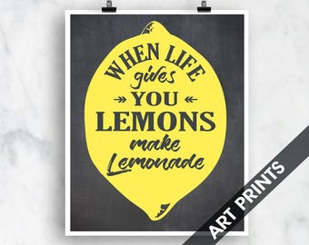 When Life Gives You Lemons Make Lemonade - Art Print (Featured on Vintage Chalkboard) Customizable Kitchen Prints