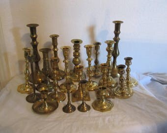 Lot of Twenty Brass Candle Holders Various Sizes