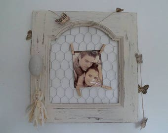 Picture frames Shabby roasting chicken patina white linen tassel holder