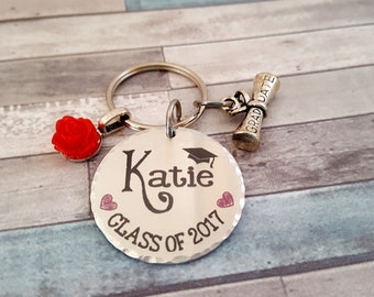 Custom Engraved Trendy Key Chain with a Rose Charm | Custom Engraving | Gift for Graduate | 2018 Graduate