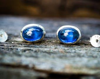 Kyanite Cabochon Earrings - Kyanite stud earrings - Kyanite Jewelry - Kyanite Jewelry Blue Gemstone Earrings - Kyanite Post Earrings Kyanite