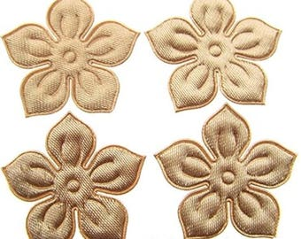 SET of 5 Brown 25mm flower embellishment applique N13