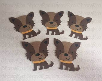 """4"""" Terrier Puppy Dog Cutouts - Set of 5 - Centerpiece/Topper/Party Favor/Birthday Decoraions/Classroom/Scrapbooking *Made to Order*"""