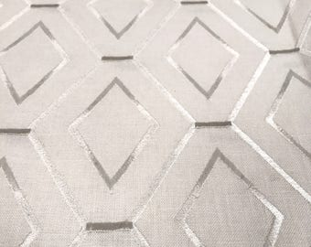 REMNANT FABRIC:  White on White Geometric Pattern Fabric REM-50