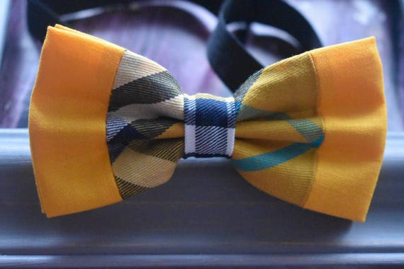 Festive Yellow Tartan / Plaid Bow Tie  for Baby, Toddlers and Boys (Kids Bow Ties) with Braces / Suspenders