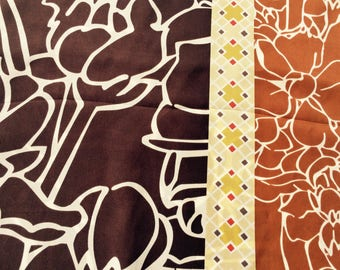 "Silk Scarf Designer ANNE KLEIN Abstract Mod Floral Brown, Yellow, Rust Long 13"" by 60"" Accessory"