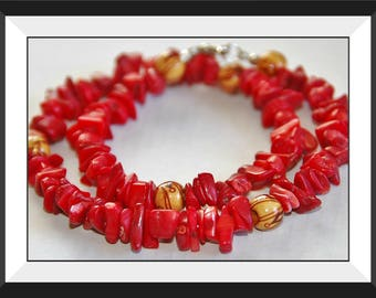 Red Chip Coral and Wood Bead Necklace