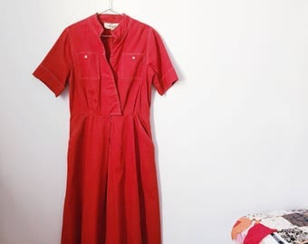 vintage 70s red midi dress (small) – free us shipping