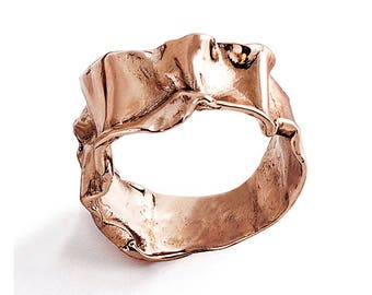 CRUMPLED Rose Gold Ring, Statement Ring, Unique Wedding Band, Women's Rose Gold Wedding Band, Alternative Wedding Band