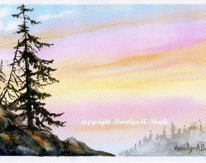 WATERCOLOR - ORIGINAL PAINTING, landscape, mountainside, lone tree, Canadian art, wall art, sunrise, miniature art, 5 x 8.50 inches