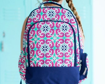 Monogram Backpack and lunchbox, Mia Tile Backpack, Embroidered Backpack, Elementary backpack, personalized backpack