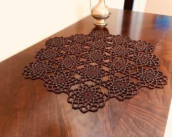 Handmade BROWN Crochet Beaded Doily