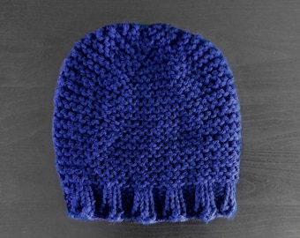Chunky Knit Hat Thick Winter Beanie in Blue Cotton | CELESTIAL