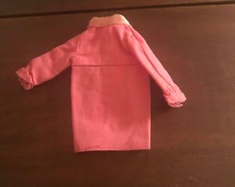 Vintage Unmarked Barbie-sized Pink Cotton Mini-dress with Pink Satin Ribbon Trim at Neckline