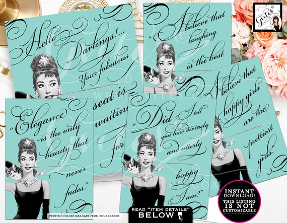 Breakfast at Tiffany's Party - Audrey Hepburn quote PRINTABLE table decor, party favor, bridal shower, gift signs, Set of 5