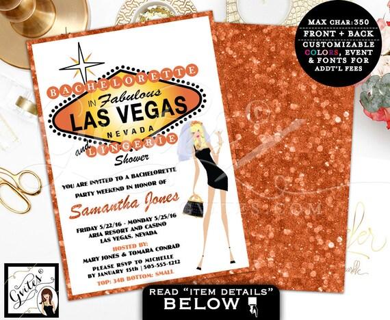 Las Vegas bachelorette &  lingerie shower wedding, bachelorette party invitations, invites, vegas shower, glitz glam casino theme, 5x7.
