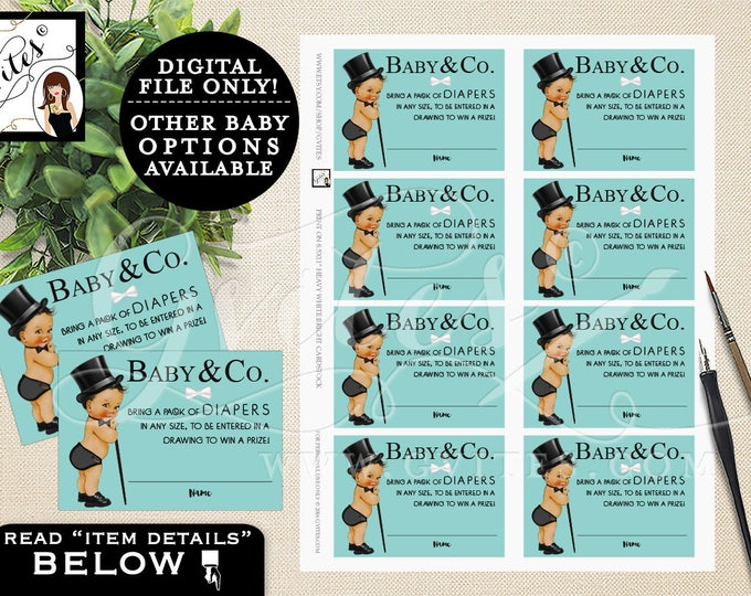 """Diaper Raffle Ticket Template, baby and co, diaper raffle cards, raffle tickets boy, african american baby. PRINTABLE 3.5x2.5"""" 8 Per/Sheet"""