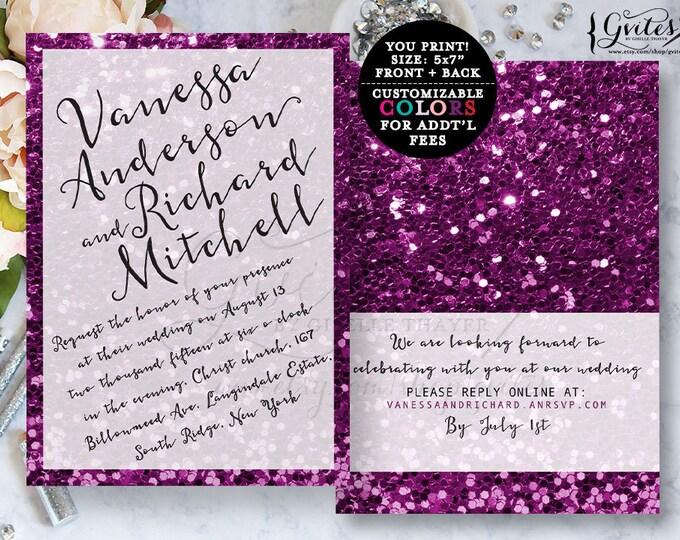 Purple wedding invitation, glitter modern wedding invitations, glitter, printable wedding invitation glitter, bling, purple wedding invites.