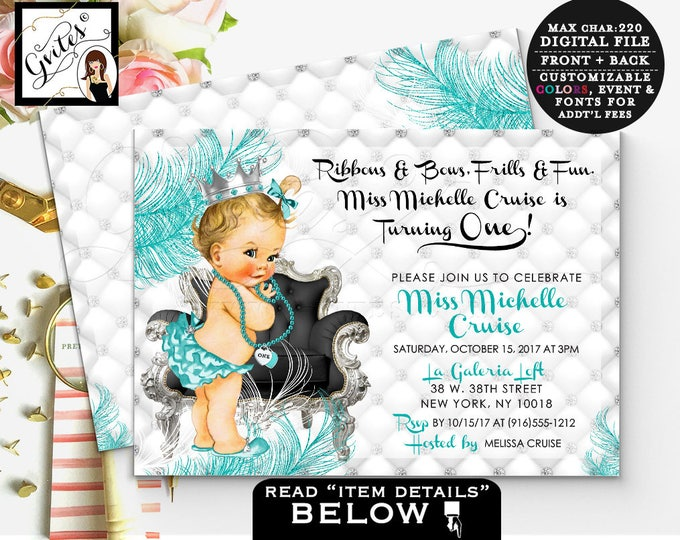 Silver white and blue invitation, first birthday baby girl, princess 1st birthday, printable invites, turquoise blue and silver glitter, 7x5