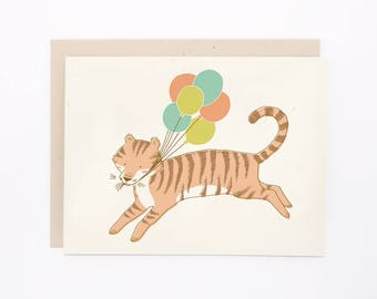 ON SALE! 5x7 Birthday or Congratulations Card - Tiger with Balloons
