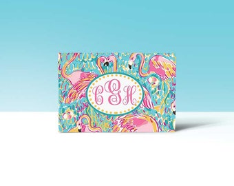 Pink Flamingo Monogrammed Note Card Box Set of 12 note cards and envelopes, Thank you cards, Note Card Set, Stationary, Greeting Cards