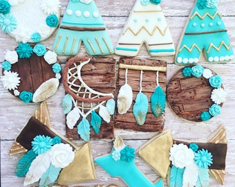 12 dream catcher, whimsical, boho cookies sugar