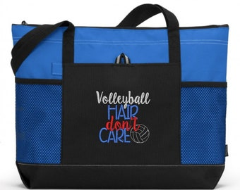 Embroidered Volleyball Tote Bag/ Volleyball Hair Don't Care Volleyball Tote Bag/ Volleyball Mom Tote Bag/ Embroidered Volleyball Gift