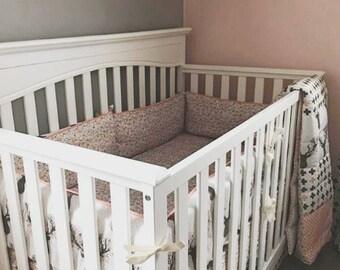 CRIB BEDDING Mini Crib Bedding, Stokke Sleepi Bedding, Toddler Bedding -Fawn Floral Nursery-Coral,Grey,Gold-Sheet,Ruffle Skirt,Crib Bumper