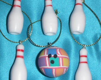Set of Six ~ Bowling One Ball & Five Pins Sports Fun ~ Small Christmas Ornaments