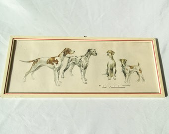 Carlos Bécquer Domínguez (1889 - 1968) Four Dogs Water Color Reproduction, Dog Art, Dogs Water Color