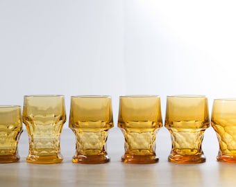 Vintage Thumbprint Glasses / Set of 6 Amber or Honey Colored Textured Drinking Tumbler Lowball Glasses / Yellow Orange Cocktail Barware