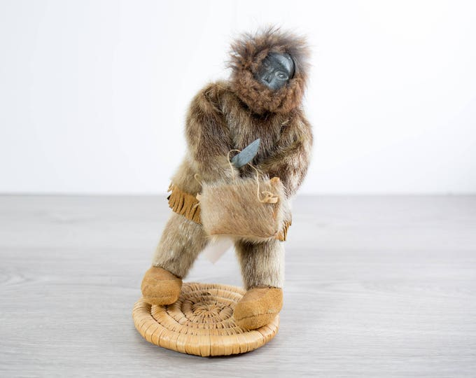 Inuit Doll with Sealskin Jacket and Stone Head / indigenous Native American Soapstone Artwork