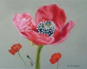 painting in pastel red poppy painting poppy flower arrangement