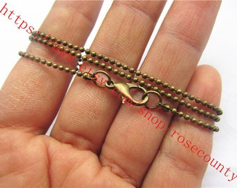 50pcs 30 inch antiqued bronze 1.5mm ball chains with clasps