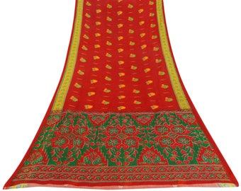 Indian Vintage Red Decorative Fabric Cotton Blend Saree Floral Printed Sari Craft Fabric Used Saree 5 YD CS10164