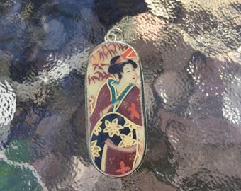 Japanese Geisha woman portrait porcelain pendant. Hand made and hand painted. Different in details of each one  Very pretty!