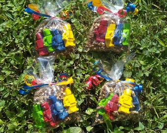 20 bags  minifigure  party favors crayons/ party supplies/party ideas/crayon party favors/boys birthday party, 4 in each bag,