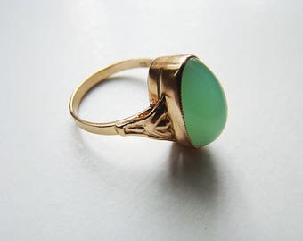 Vintage Genuine Chrysoprase Ring Hallmarks 583 14K Rose Pink Gold Ring Size 7.5 Cocktail Ring Engagement Ring Statement Fine Jewelry USSR