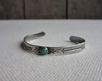 Vintage Fred Harvey Era Navajo Baby Bracelet, Silver Cuff, Turquoise,Railroad Jewelry,Silver Bracelet,Native American Indian,Southwest Style
