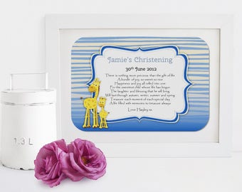 Personalised Christening Framed Poem