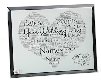 Personalised Wedding Word Art Glass Plaque