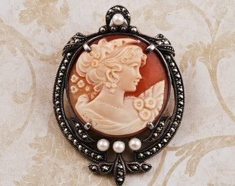 Vintage Marcasite Carved Shell Cameo